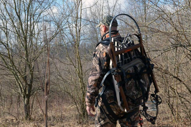 Hunter With Climbing Tree Stand Packed On Back